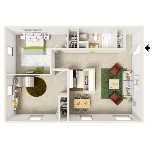 pennwood two bedroom one bath floor plan
